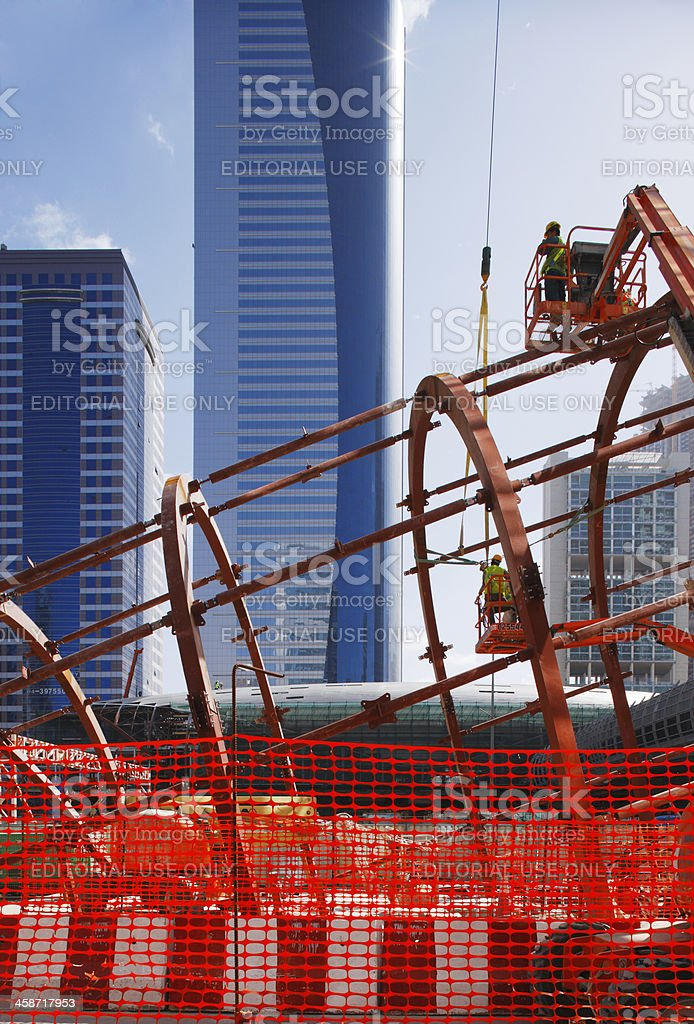Bolting the steel together of Dubai Metro Station stock photo