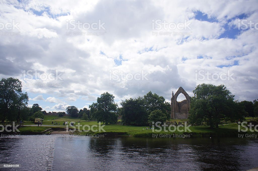 Bolton Abbey on the riverside stock photo