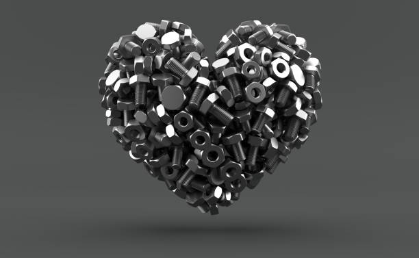 Bolts and nuts in heart shape - foto stock