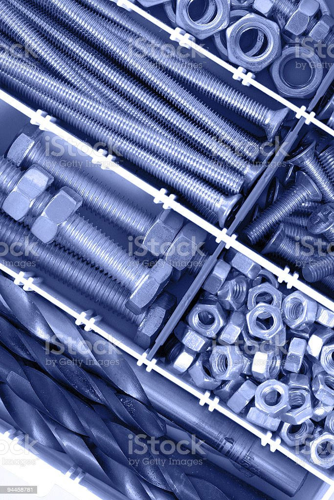 Bolts, nuts and screws royalty-free stock photo