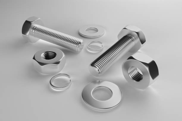 Bolts, nuts, washers, growers. 3D rendering Bolts, nuts, washers, growers on a white background 3D rendering washer fastener stock pictures, royalty-free photos & images
