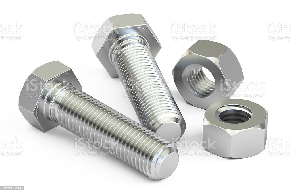 Bolts with nuts closeup, 3D rendering stock photo