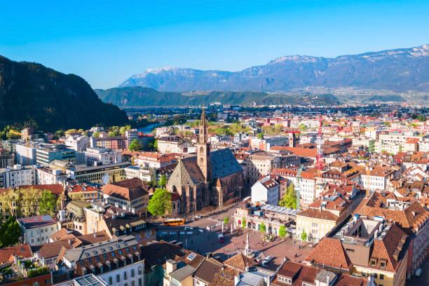 Bolzano aerial panoramic view, Italy stock photo