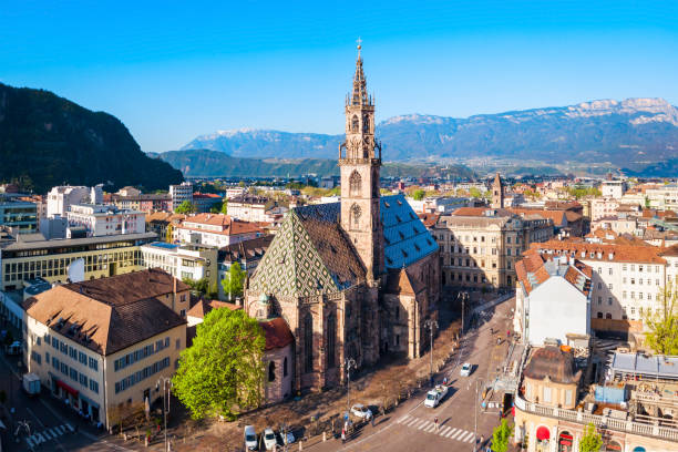 Bolzano Cathedral aerial panoramic view stock photo