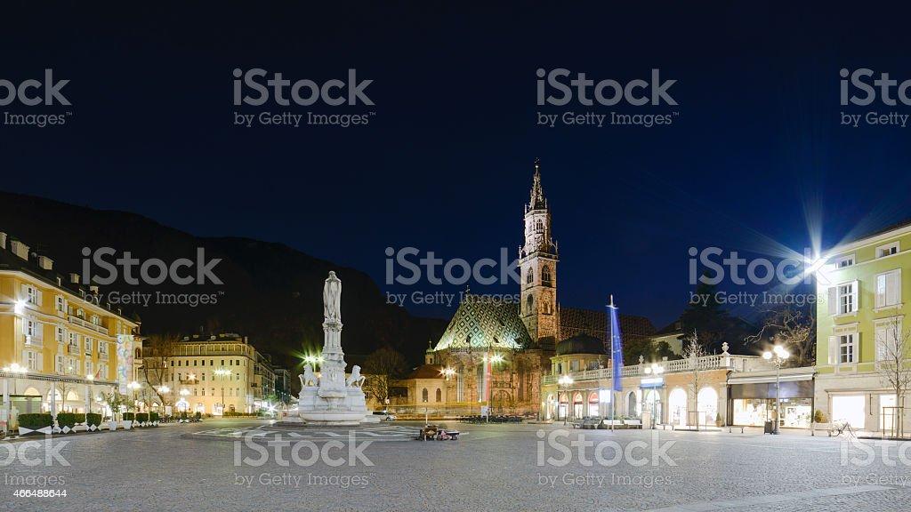 Bolzano - Piazza Walther Von Der Vogelweide stock photo
