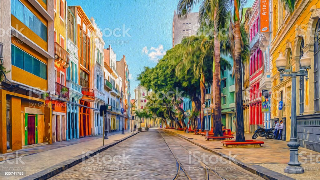 Bom Jesus Street stock photo