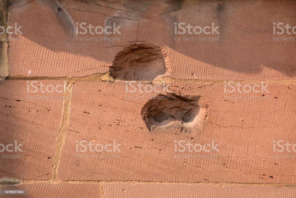 Bomb and Shrapnel Damage on Coventry Cathedral in the UK stock photo