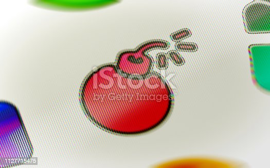 1127716664 istock photo Bomb icon on the screen. 1127715475