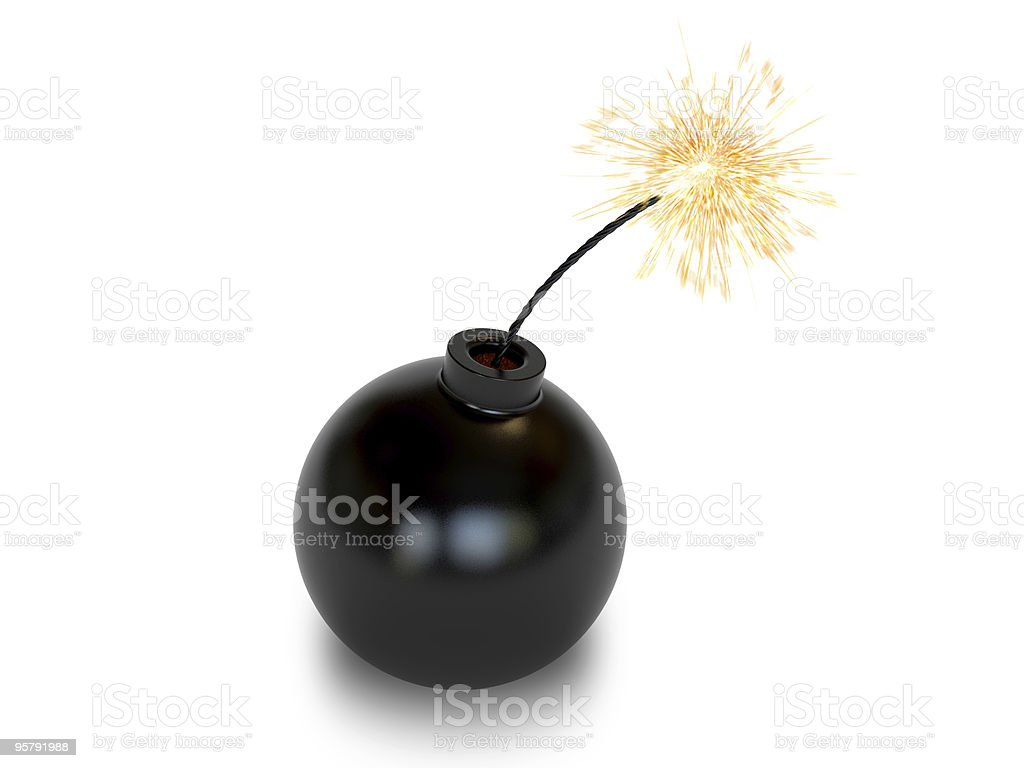 Bomb in old style with a burning wick stock photo