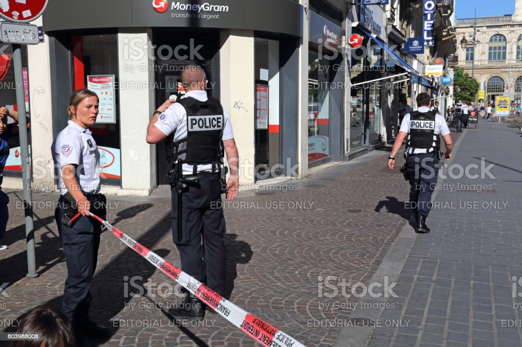 Bomb threat in Lille, France stock photo