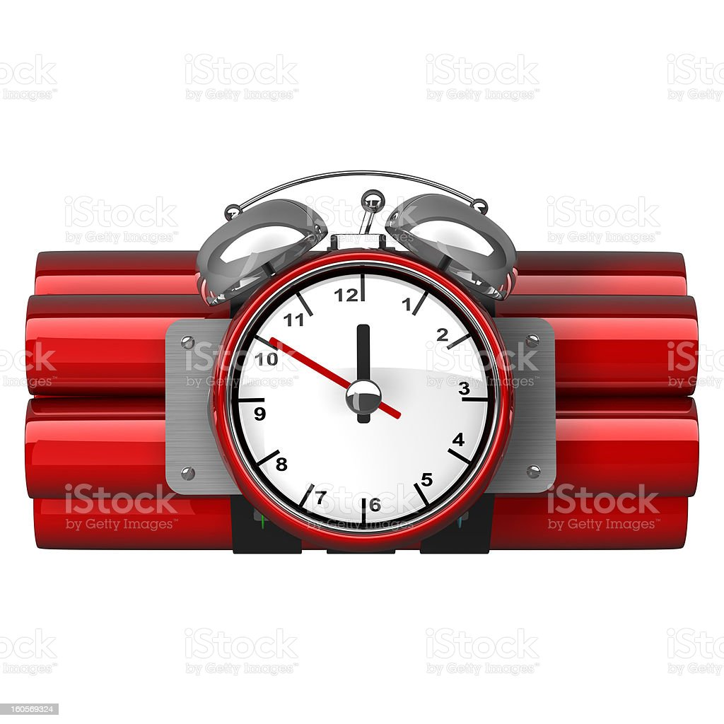 Bomb with clock timer isolated royalty-free stock photo