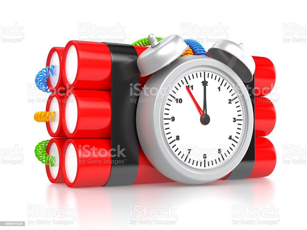 Bomb with clock timer stock photo