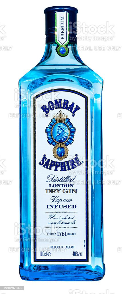 Bombay Sapphire gin bottle stock photo