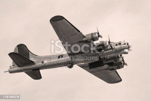 World War II bomber. Bomb bay doors open. B-17 Flying Fortress.