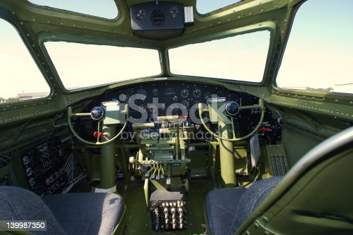 The pilot area of a B-17G bomber on display.