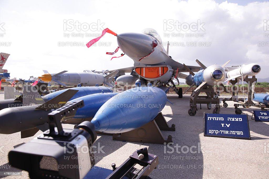 Bomber exhibited at Ramat David Israeli Air Force Base stock photo