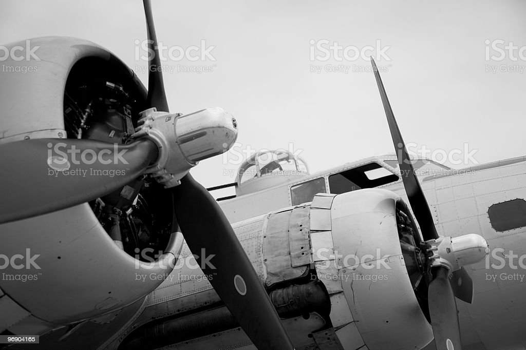 B-17 bomber in black & white royalty-free stock photo