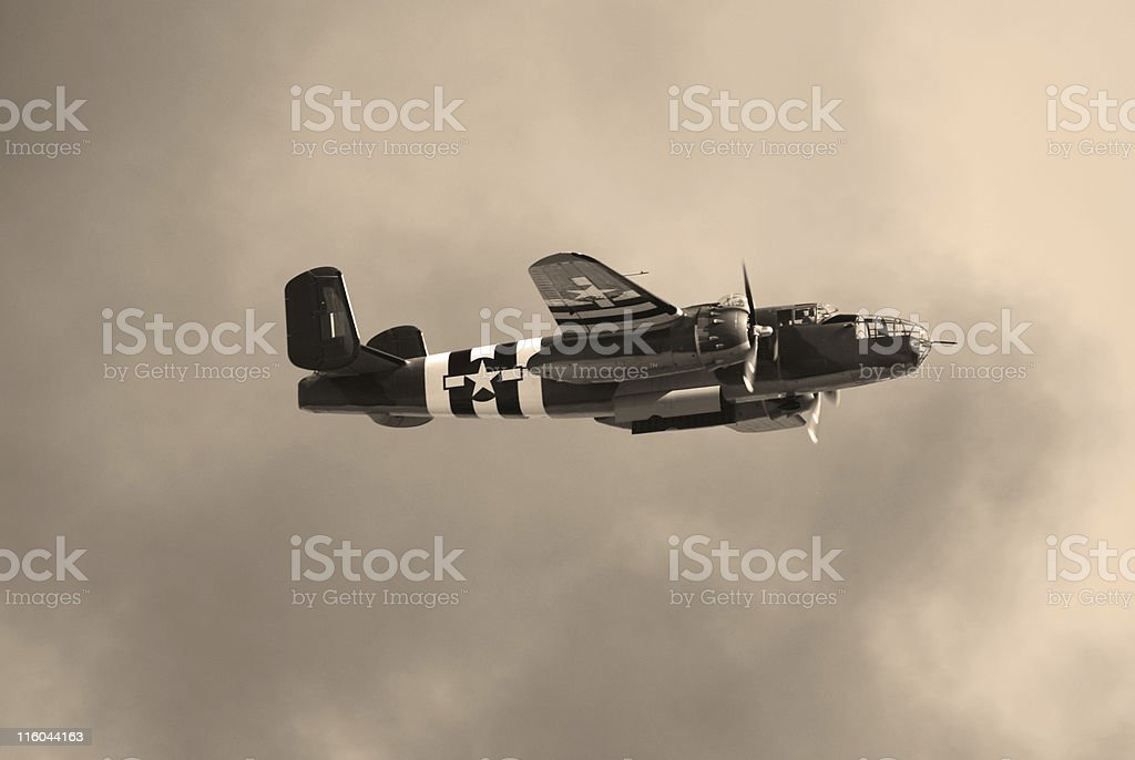 WWII B25 bomber plane with its bomb bay doors open royalty-free stock photo