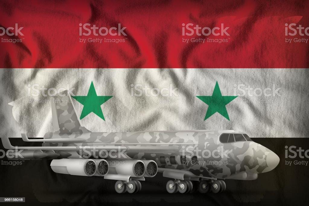 bombplan med city kamouflage på syriska Arabrepubliken statligt flagga bakgrunden. 3D illustration - Royaltyfri Bomb Bildbanksbilder