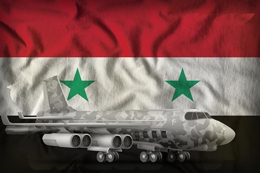 Bommenwerper Met Stad Camouflage Op De Achtergrond Van De Vlag Van Het Braziliaanse Van Syrische Arabische Republiek 3d Illustratie Stockfoto en meer beelden van Bom
