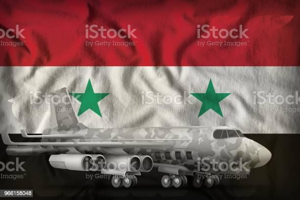 Bombplan Med City Kamouflage På Syriska Arabrepubliken Statligt Flagga Bakgrunden 3d Illustration-foton och fler bilder på Bomb