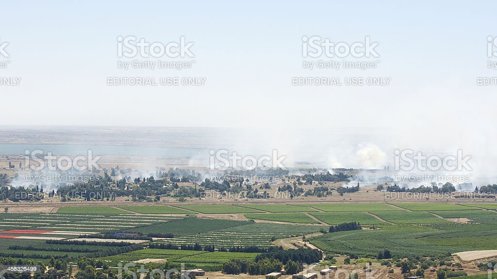 Bombing in Syrian city Qunaitira near Israeli border stock photo