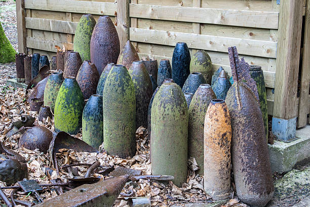 bombs and grenades from World War 1 in Flanders Belgium stock photo