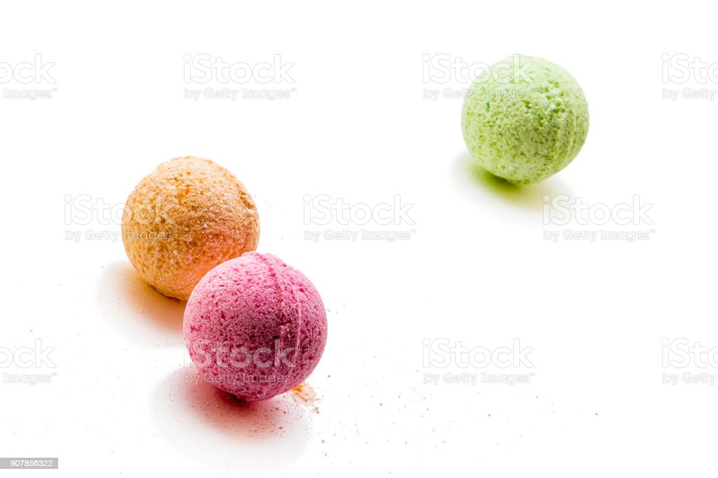 Bombs for bath isolated on white stock photo