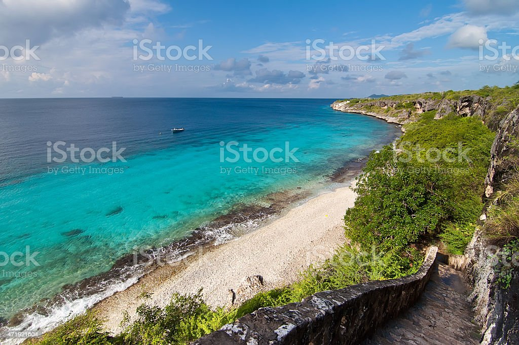 Bonaire coastline on a clear sunny day stock photo