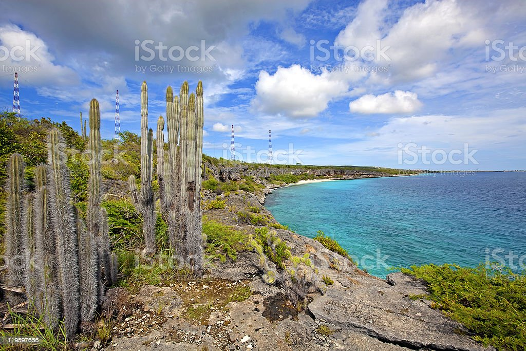 Bonaire coastline panoramic view stock photo