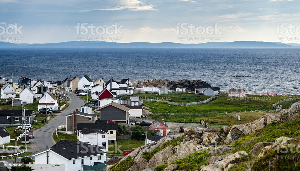 Bonavista Newfoundland.   Homes along shoreline in coastal villages. stock photo