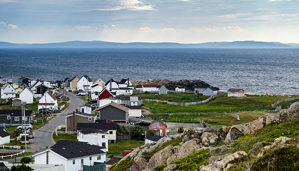 Bonavista Newfoundland.   Homes along shoreline in coastal villages. stock photo