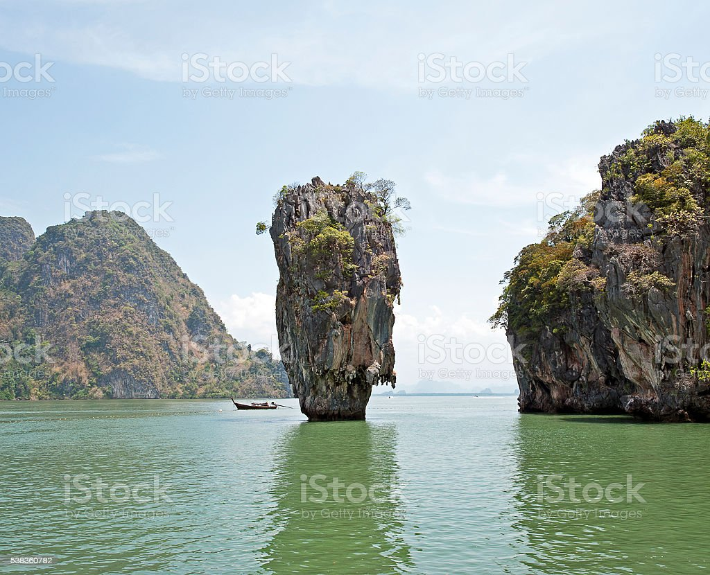 Bond and boat, Phang Nga Bay, Phuket, Thailand stock photo