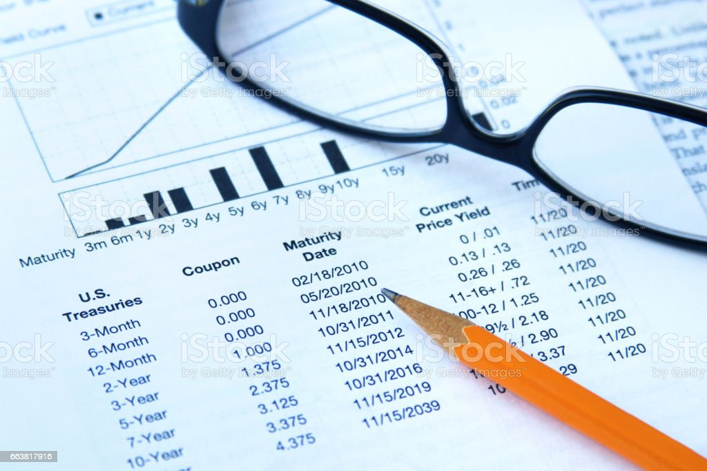 Bond investment table stock photo