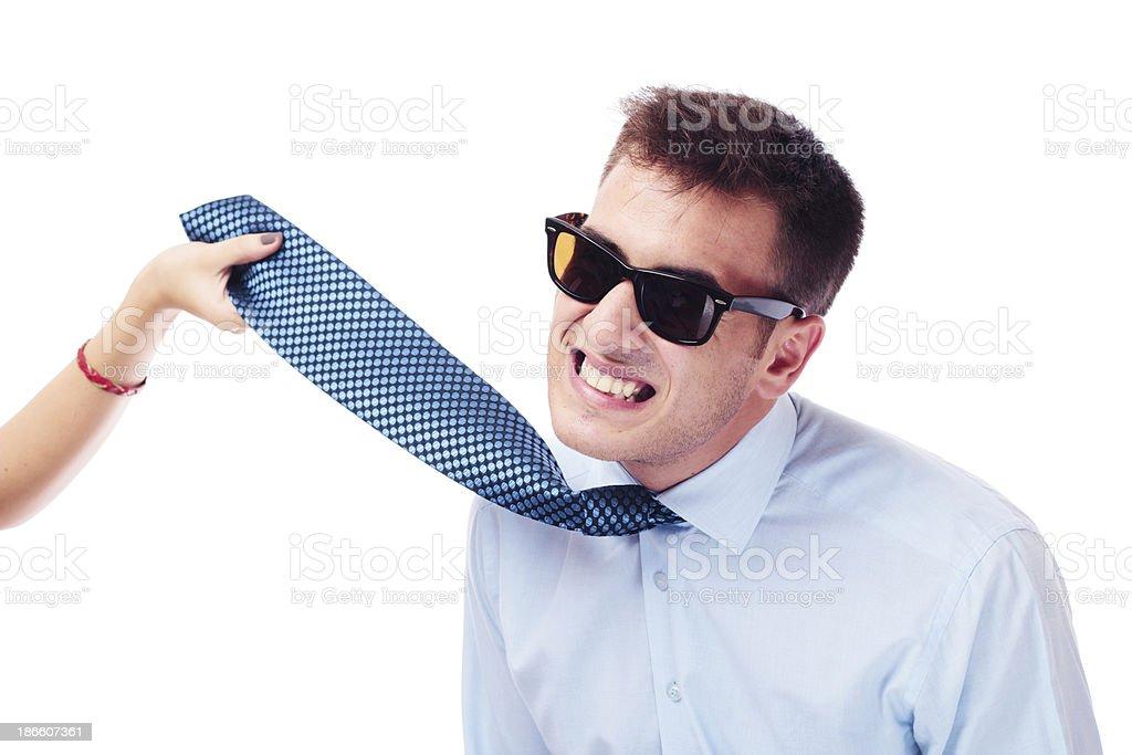 Bondage businessman on a leash royalty-free stock photo