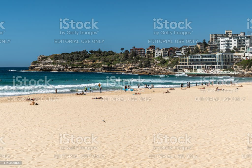 Bondi beach and South cliffs, Sydney Australia. stock photo