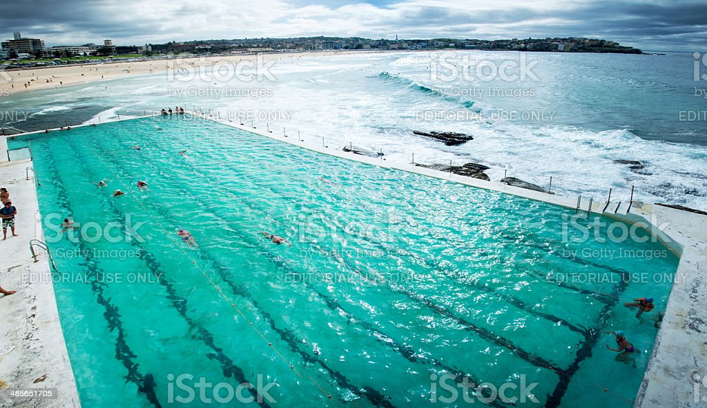Bondi beach from Icebergs stock photo