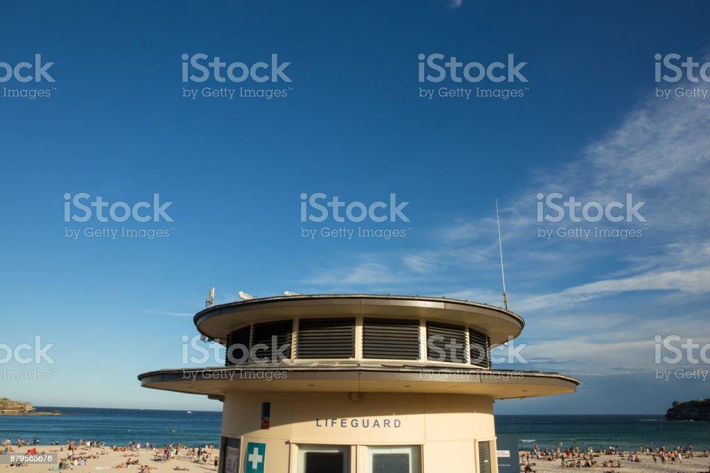 Bondi beach lifesavers building busy stock photo