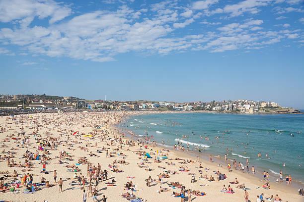 Crowded Beach In Hot Summer Day Bondi Beach Sydney