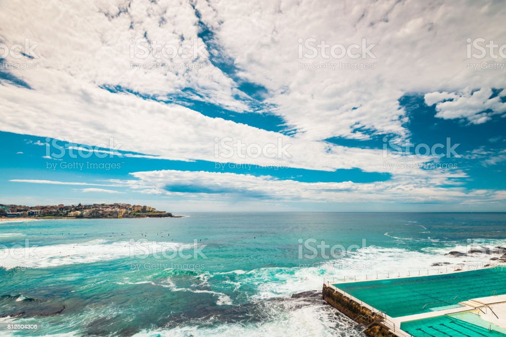 Bondi Beach view at open swimming pool with ocean stock photo