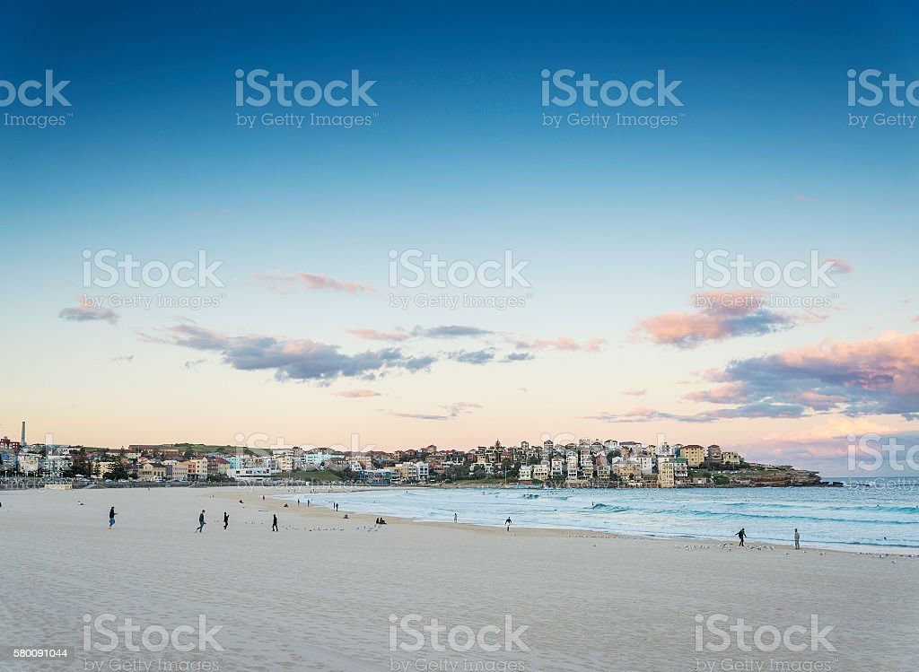 bondi beach view at sunset dusk near sydney australia stock photo