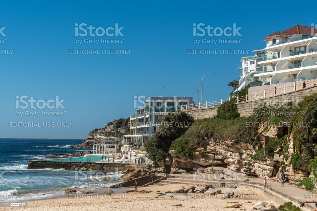 Bondi Iceberghs Club House and pool at Bondi beach, Sydney Australia. stock photo