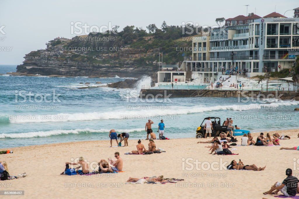 Bondi Icebergs Pool and Beach Scene stock photo