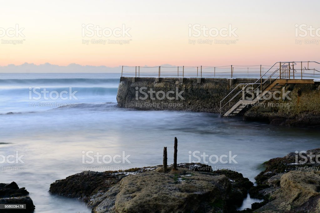 Bondi Icebergs pool at sunrise stock photo