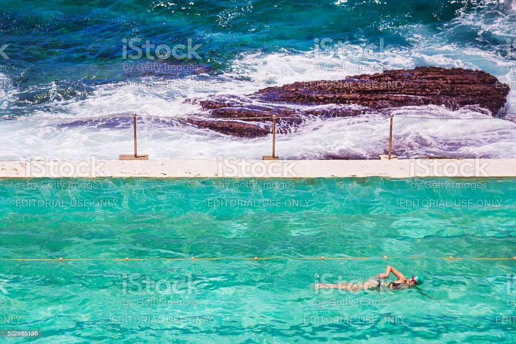 Bondi Icebergs - Swimming by the Sea stock photo