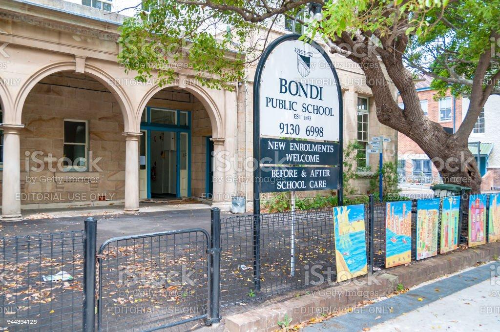 Bondi Public school sign and building exterior stock photo