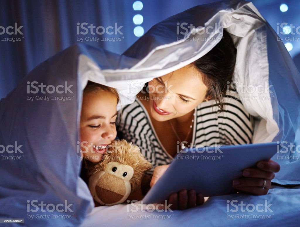 Bonding at bedtime stock photo