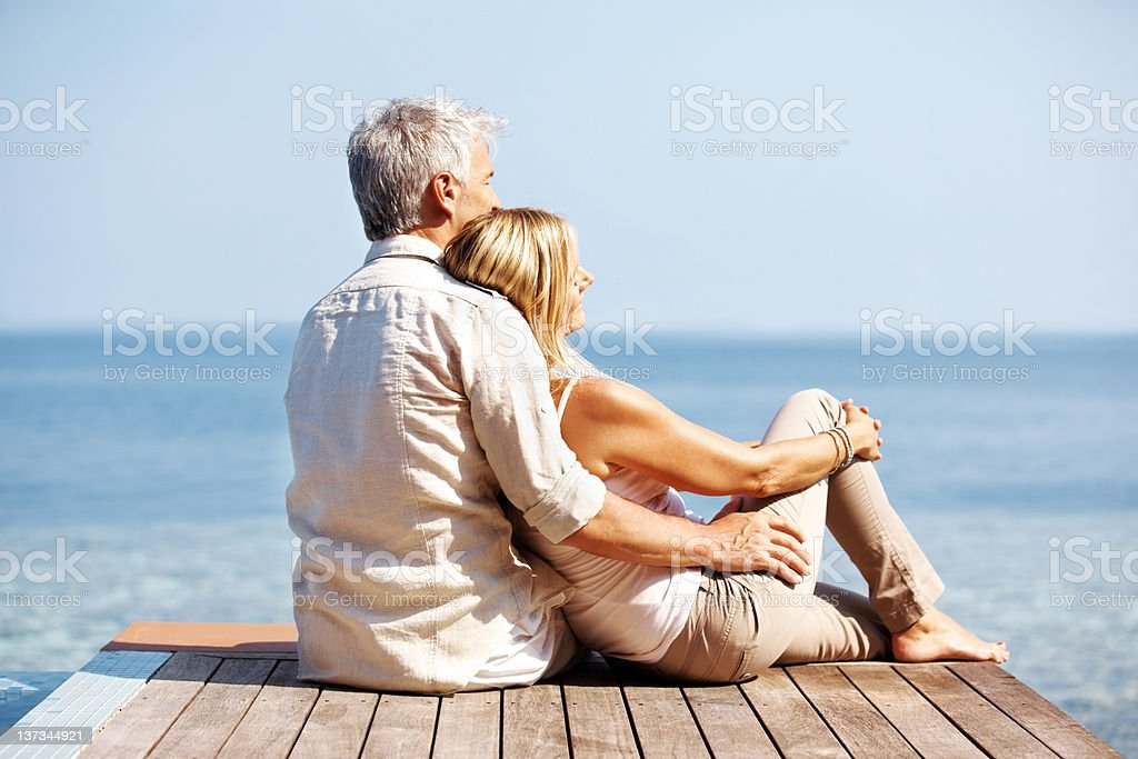 Bonding by the sea royalty-free stock photo