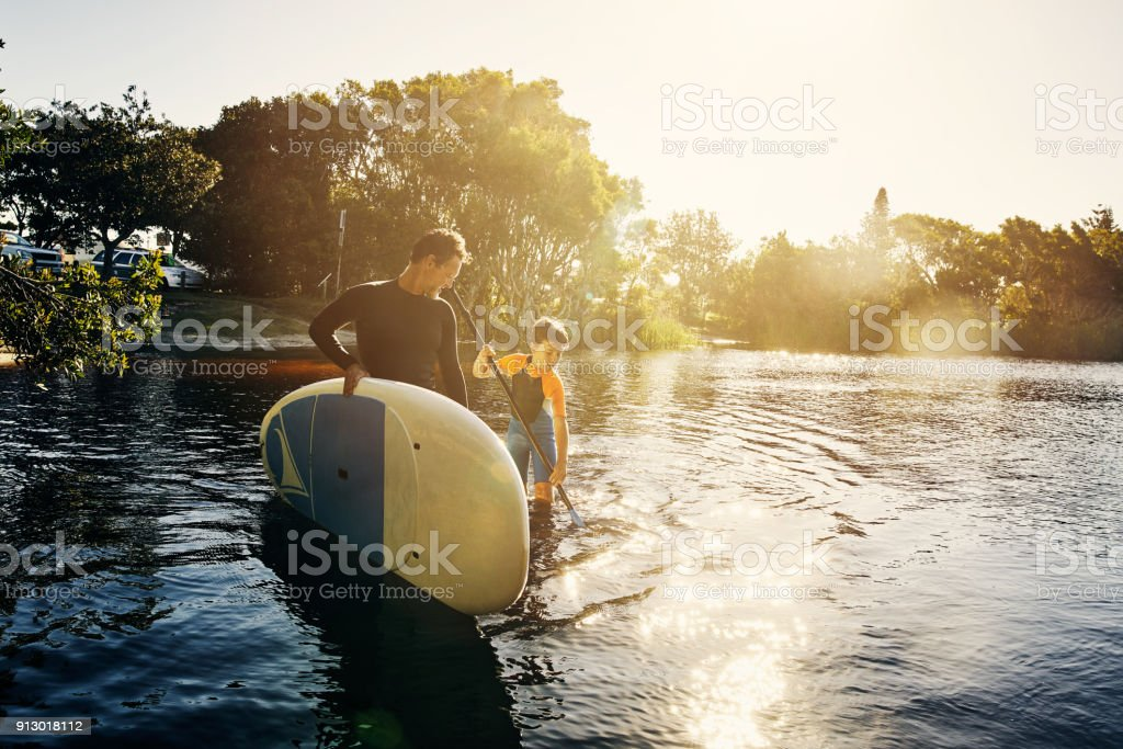 Bonding in the best way, in water stock photo