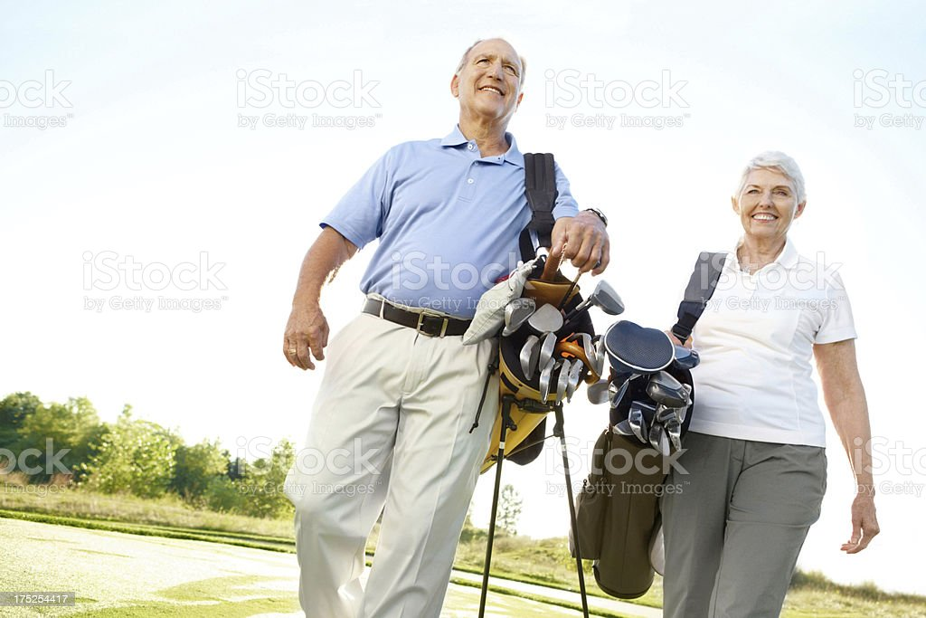 Bonding over their love of golf royalty-free stock photo